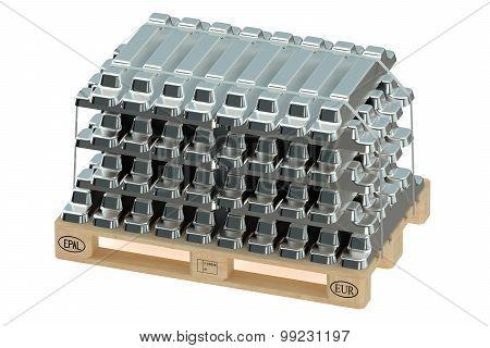 Aluminum Ingots On Pallet