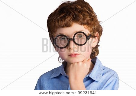 Portrait of handsome thoughtful boy in round glasses. Isolated on white background