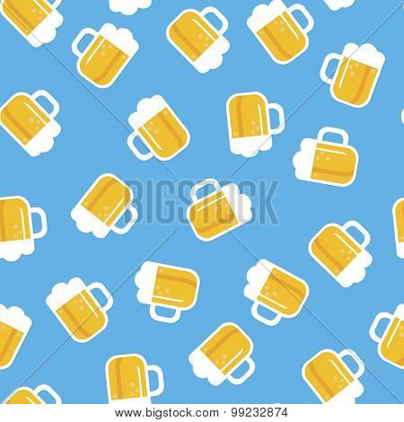 Seamless Munich blue Oktoberfest theme beer party pull illustration background pattern in vector
