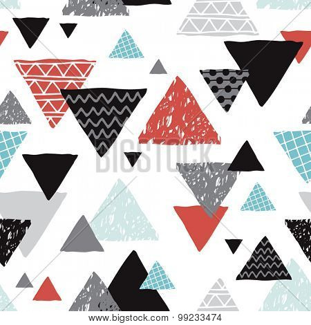Seamless geometric coral blue black and white tribal triangle hand drawn pastel background pattern in vector