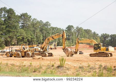 Heavy Equipment On New Homes Site