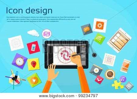 Logo Icon Designer Professional Tablet Drawing Flat