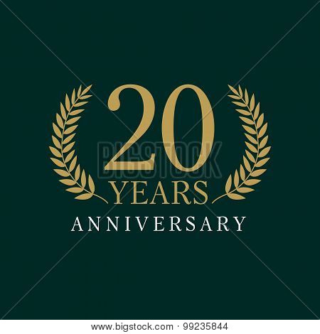 20 years old luxurious logo. Anniversary year of 20 th vector gold colored template framed of palms. Greetings ages celebrates. Celebrating laurel branches. 2 nd place symbol of victory and success