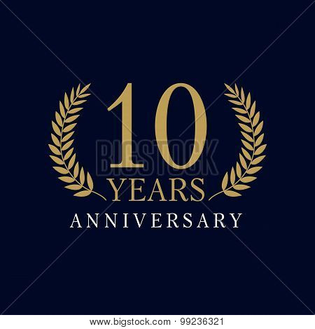 10 years old luxurious logo. Anniversary year of 10 th vector gold colored template framed of palms. Greetings ages celebrates. Celebrating laurel branches. 1 st place symbol of victory and success.