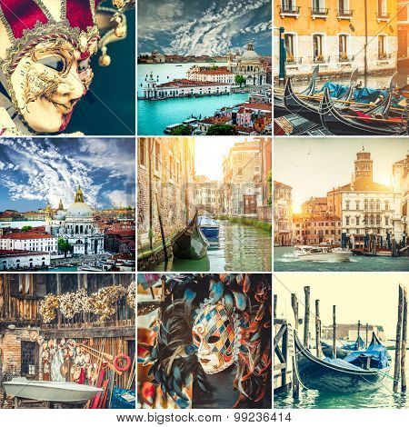 collage  photos canals, gondolas and Venice mask