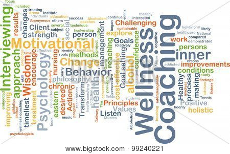 Background concept wordcloud illustration of wellness coaching