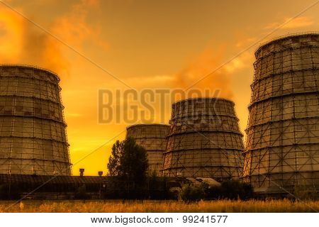 Factory Pipe Smoke Sunset Industrial Landscape