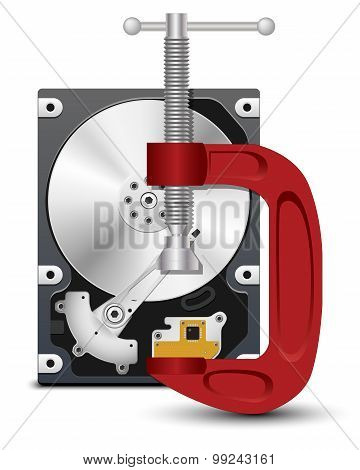 Vector Hard Drive And Vise