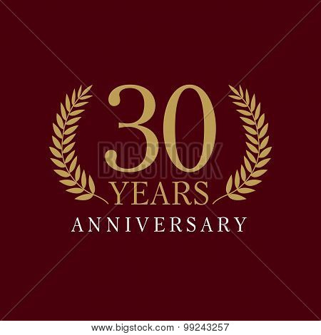 30 years old luxurious logo. Anniversary year of 30 th vector gold colored template framed of palms. Greetings ages celebrates. Celebrating laurel branches. 3 rd place symbol of victory and success.
