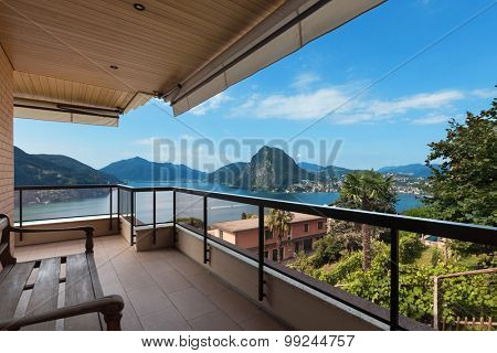 Lugano lake, panoramic view from the terrace of an apartment poster