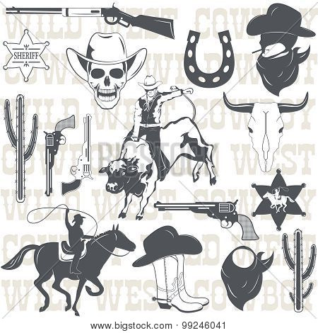 Set of wild west cowboy designed elements