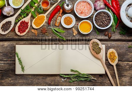 Blank book  recipes and various spices.