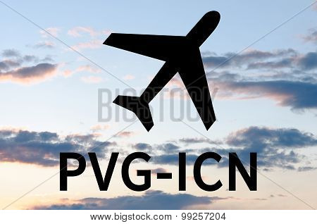 Airplane icon and inscription Icn-Pvg
