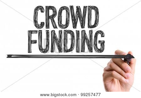Hand with marker writing the word Crowd Funding poster