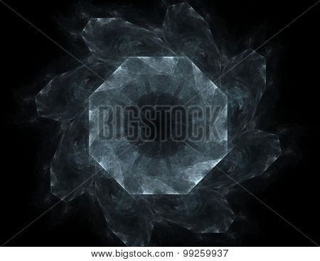 Elementary Particles series. Interplay of abstract fractal forms on the subject