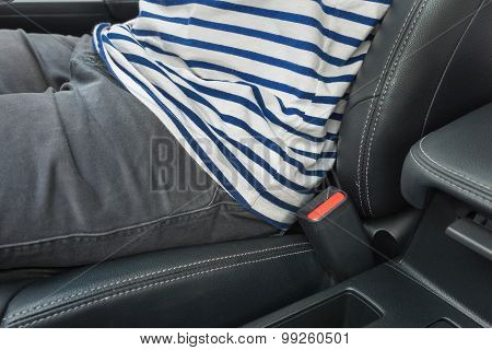 Closeup Of Man Driving A Car And No Use Seat Belt