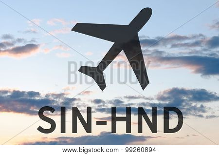 Airplane icon and inscription Sin-Hnd. Blue sky on background. poster