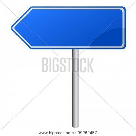 Blue Directional Road Sign - Blank destination sign with destination information