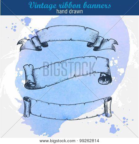 hand drawn old ribbons