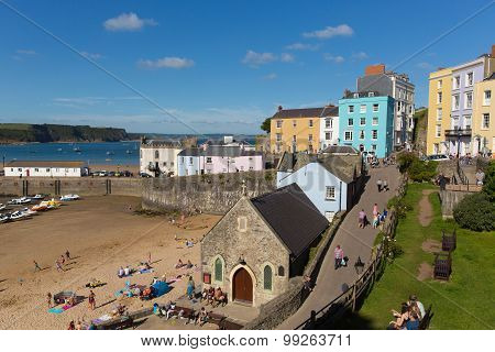Beautiful weather and summer sunshine drew visitors to Tenby South Wales uk