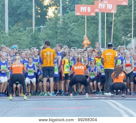 Group Of Running Girls And Boys