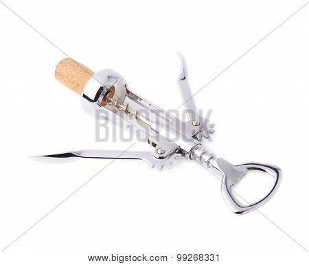 Glossy metal wine bottle opener