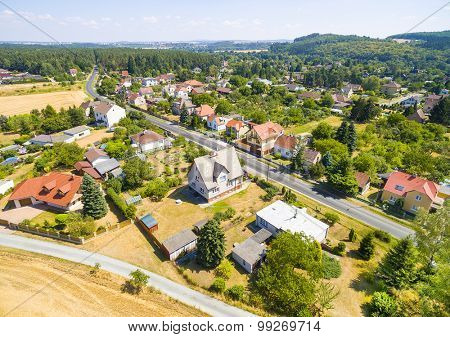 Aerial view to suburban district of a Pilsen City. Czech Republic, Central Europe.