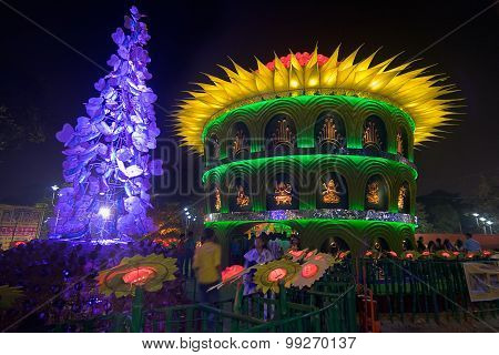 Durga Puja Pandal (decorated Temporary Temple)., Kolkata At Night, India