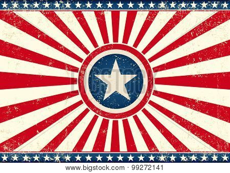 US sunbeams star horizontal flag. An american horizontal background with a big star for your publicity