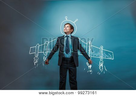 Teen boy businessman superhero pilot wings from the aircraft inf