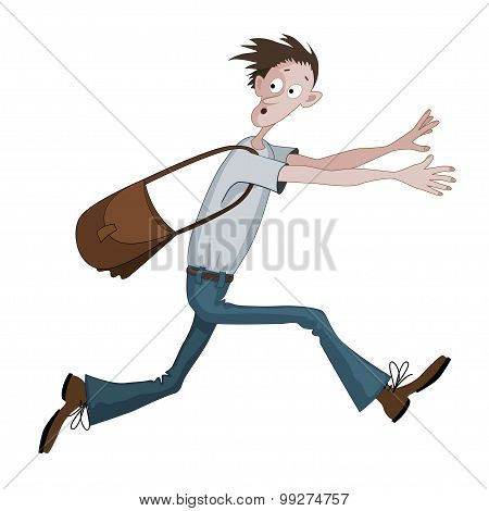 Carton Man Running Fast With Bag Scared With Something