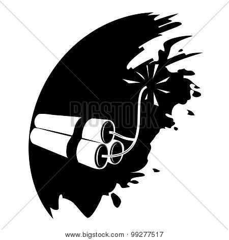TNT dynamite bomb with burning fuse vector isolated poster