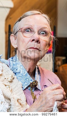 Startled Old Woman With Crochet