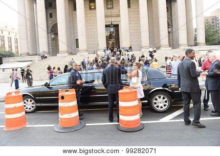 Trump limousine outside 60 Centre St