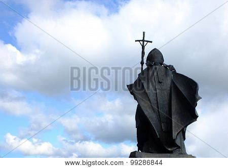 The monument of Saint John Paul II the Pope in Szczecin on Jasne Blonia poster