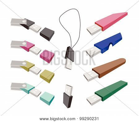 Usb Flash Memory On A White Background