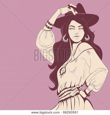 fashion illustration design entho chic style girl poster