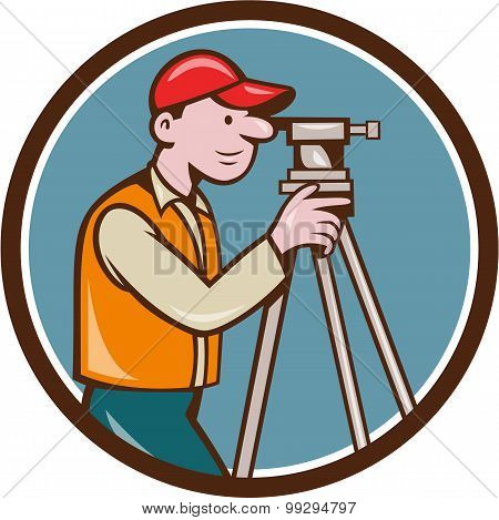 Surveyor Geodetic Engineer Theodolite Circle Cartoon