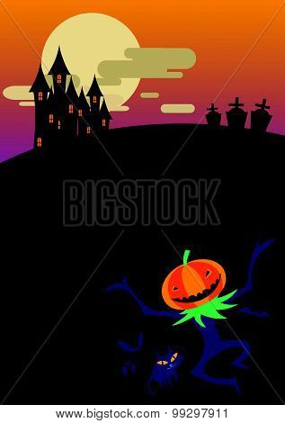 Evil Pumpkin Dance In The Moonlight Infront Of Castle Poster