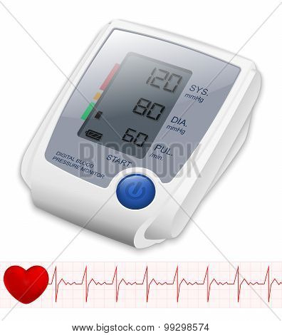 Blood Pressure Monitor, Vector Illustration