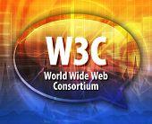 Speech bubble illustration of information technology acronym abbreviation term definition W3C World Wide Web Consortium poster