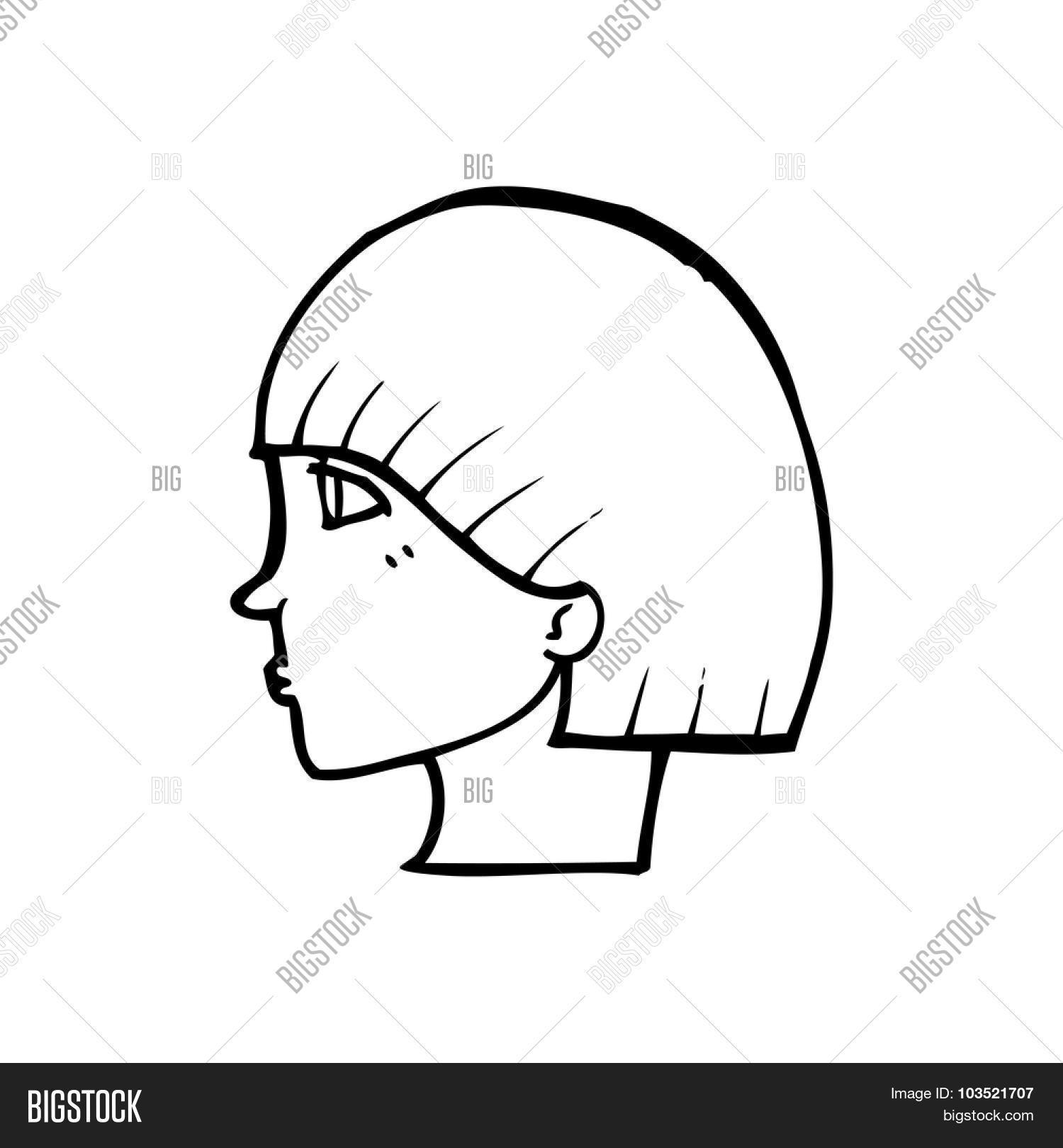 Line Drawing Of Face Profile : Simple black white line drawing vector photo bigstock