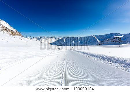 Groomed Ski Slope At Soelden