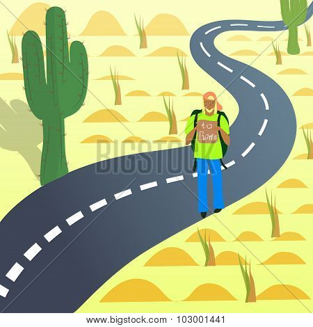 Young Hitch-Hiker on the Road in Desert with the destination Wrote on the Tablet poster
