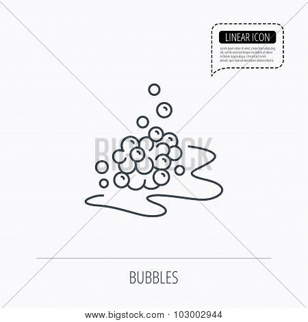 Bubbles icon. Foam for bathing sign. Washing or shampoo symbol. Linear outline icon. Speech bubble of dotted line. Vector poster