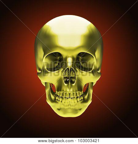 Gold metallic skull on dark red background