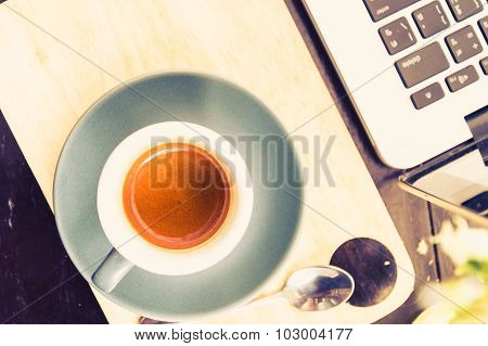Working Time. Hot Coffee, Espesso With Laptop. Business Concept