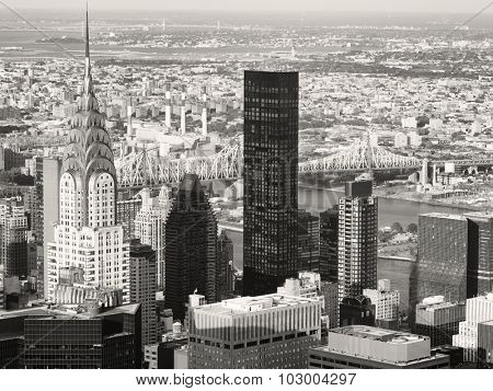 NEW YORK,USA - AUGUST 15,2015 : Black and white aerial view of New York including the Chrysler Building and the Queensboro Bridge