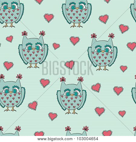 Cute cartoon vector owls. Vector pattern.
