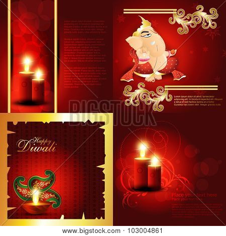 vector set of hindu festival diwali background with decorated diya, candle with floral and lord ganesha illustration